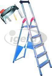 Haca-Stehleiter Alu Gr.7 7 Stufen, nicht eloxiert mit Ablage