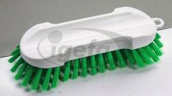 Haug Waschbürste grün (5) PHB hart d=0,5mm, Köper weiß Polyester 205x65x55mm