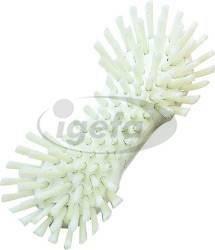 Haug Waschbürste mit Bart (10) PHB transparent, Körper weiß PES hart d=0,6mm 225x72x55mm