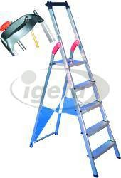 Haca-Stehleiter Alu Gr.8 8 Stufen, nicht eloxiert mit Ablage